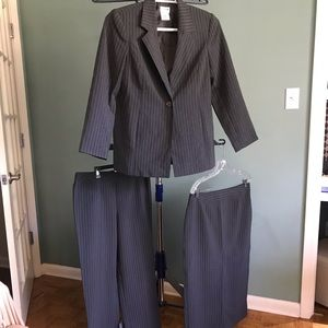 Gray Pinstriped Suit. Blazer, skirt, and pant set